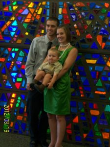 At church for Max's baptism in August 2012