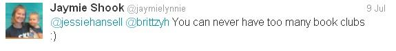 tweet, twitter, book club, @jaymielynnie, Jaymie Shook